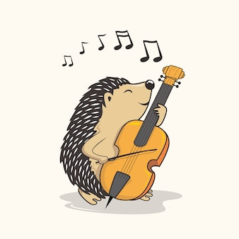 Erizo tocando violonchelo porcupine de dibujos animados reproducir música