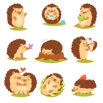 Erizo vector de dibujos animados carácter animal espinoso niño con corazón de amor en la naturaleza ilustración de la vida silvestre conjunto de erizo-tenrec durmiendo o jugando en el bosque aislado sobre fondo blanco