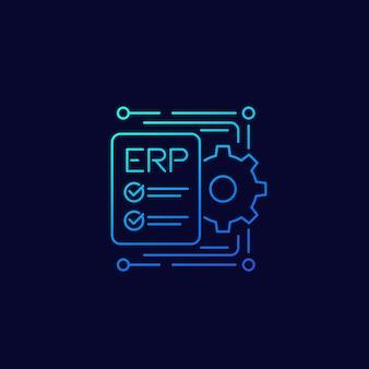 Erp, icono de planificación de recursos empresariales, diseño de vector de línea