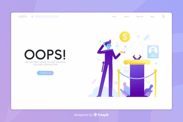 Error 404 concepto de página de inicio