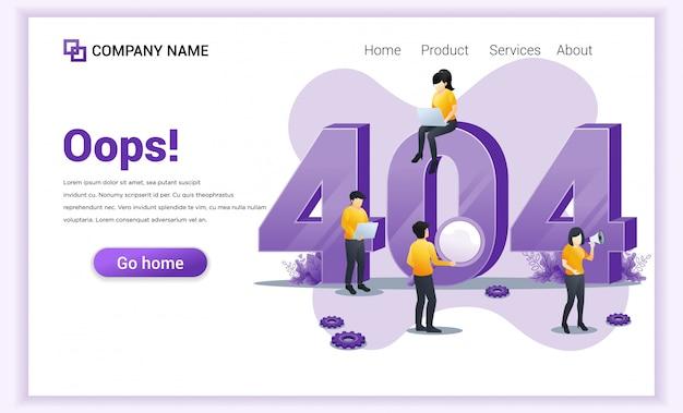 Error 404 concepto. personas que trabajan en computadoras portátiles buscando e intentando corregir errores