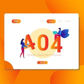 Error 404 no encontrado ilustración de página para sitio web