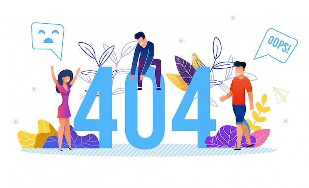 Error 404 números enormes y usuarios pequeños de gente enojada