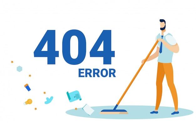 Error 404, página no encontrada, hombre barriendo el piso.