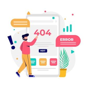 Error 404, página no encontrada, ilustración de diseño conceptual sin conexión a internet