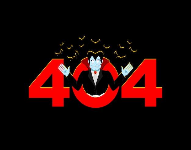 Error 404, página no encontrada para sitio web con vampiro