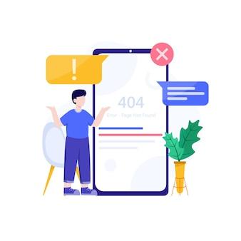 Error 404, página no encontrada, vector de ilustración de diseño conceptual sin conexión a internet