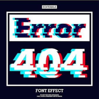 Error 404 página de signo con moderno efecto de falla