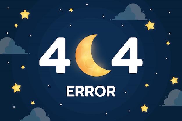 Error 404 con el vector de la luna, las nubes y las estrellas en el cielo nocturno