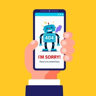Error 404 en la versión móvil del sitio. la mano sostiene un teléfono inteligente. ilustración de un robot roto.