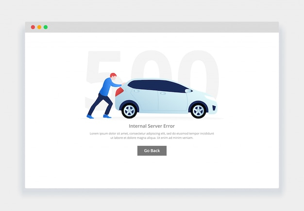 Error 500. concepto moderno de diseño plano del hombre empujando un coche averiado para el sitio web. plantilla de página de estados vacíos