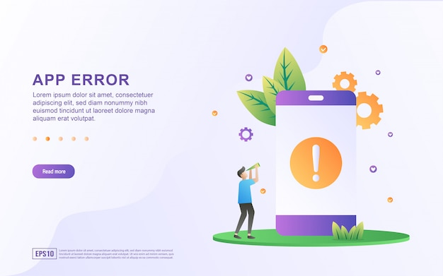 Error de aplicación concepto de diseño plano. la gente está buscando aplicaciones que son un error. solicite actualizar la aplicación a la última versión.