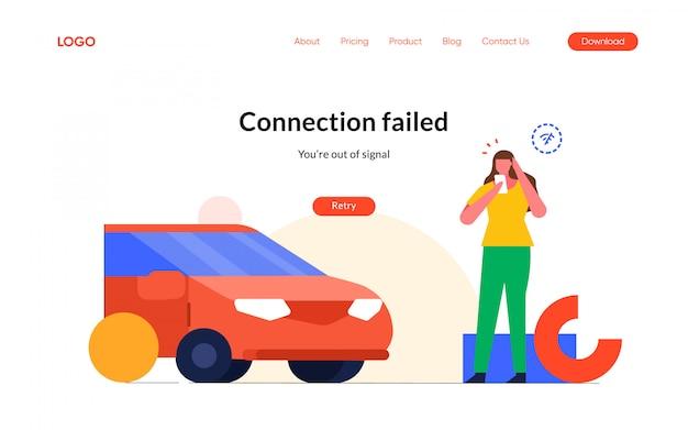 Error de conexión de señal de internet 404 estados vacíos no encontrados diseño de viaje perdido ilustración del personaje