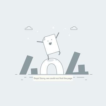 Error de diseño 404 la página está perdida y no se encuentra el mensaje. plantilla para página web con error 404. diseño de línea moderna.