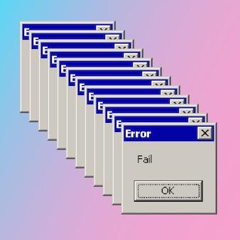 Error falla pop-up banner concepto estético vaporwave vintage.