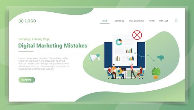 Error de marketing empresarial para la plantilla del sitio web o la página de inicio