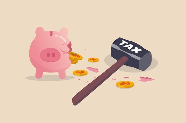 Error de planificación fiscal, pagar mucho dinero por impuestos sobre la renta que causan pérdida de dinero plan de ahorro de impacto