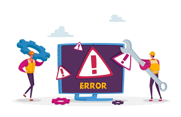 Error del sistema, sitio web en construcción. mantenimiento de la página 404. pequeños personajes de trabajadores masculinos en uniforme con llave reparando problema de red