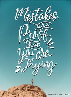 Los errores son una prueba de que lo estás intentando. citar letras de tipografía para diseño de camiseta