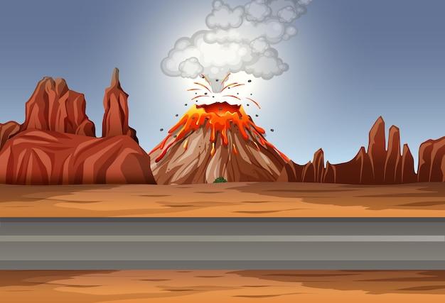 Erupción del volcán en la escena del desierto durante el día.