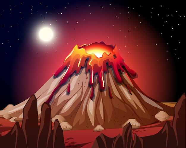 Erupción del volcán en la escena de la naturaleza por la noche.