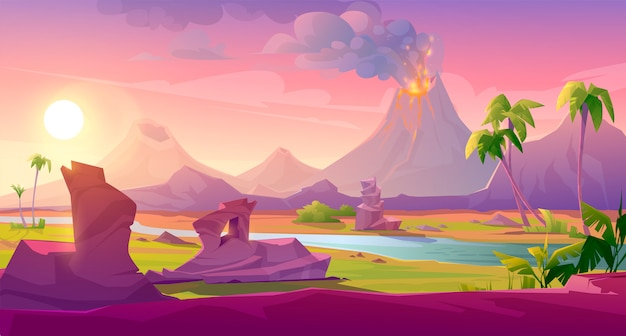 Erupción del volcán con flujos de lava y nubes de humo.