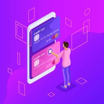 Es un concepto brillante de gestión de tarjetas de crédito en línea, cuenta bancaria en línea, hombre que transfiere dinero de una tarjeta a otra usando un teléfono inteligente