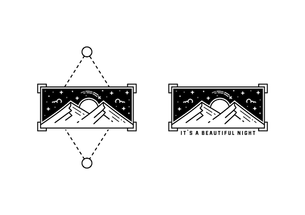 Es un diseño hermoso de la insignia del tatuaje de monoline de la noche