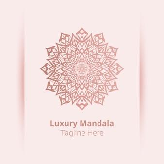 Este es el fondo del logotipo de mandala ornamental de lujo, estilo arabesco.