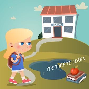 Es hora de aprender la ilustración vectorial con una niña que lleva una mochila caminando por un camino sinuoso hacia una colina en la cima de una colina con texto y una manzana en libros de texto