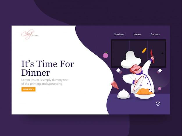 Es hora de la página de inicio de la cena con un personaje de chef feliz que presenta pollo en abstracto.