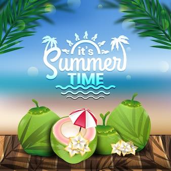 Es hora de verano, concepto de cocos verdes