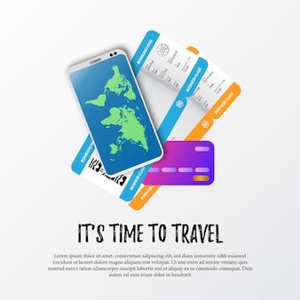 Es hora de viajar. ilustración del boleto de avión de la tarjeta de embarque, teléfono inteligente con mapa mundial y tarjeta de crédito para el pago