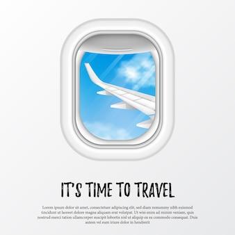 Es hora de viajar plantilla. ilustración de ventana de ojo de buey de avión con ala y vista de cielo azul.
