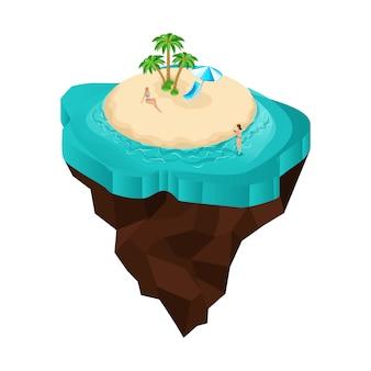 Es una isla de cuento de hadas, una caricatura, chicas en la playa, chicas en trajes de baño, tomar el sol. vacaciones en el mar, viaje al mar