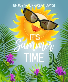 Es letras del horario de verano con el sol sonriente en gafas de sol. oferta de verano
