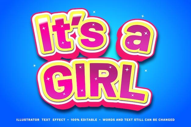 Es una niña, efecto de texto lindo de 3 dimensiones: estilo de texto editable fácil