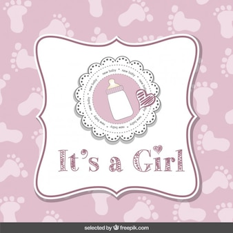 Es una niña, tarjeta de baby shower