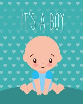 Es un niño bebé ducha invitación tarjeta corazones fondo