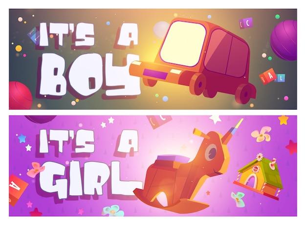 Es un niño o niña dibujos animados pancartas baby shower