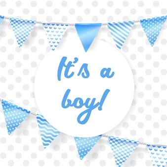 Es un niño. tarjeta de felicitación para baby shower con guirnalda azul
