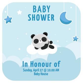 Es un panda de fondo de baby shower de niño
