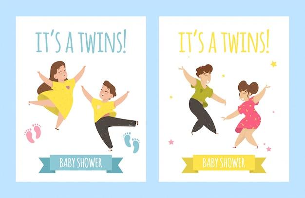 Es plantilla de tarjeta de gemelos