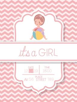 Es una tarjeta de baby shower de niña con niño y globo de plástico.