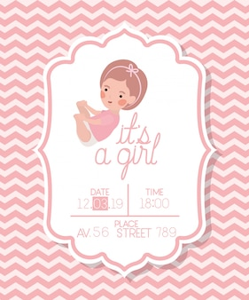 Es una tarjeta de baby shower de niña con niño pequeño.