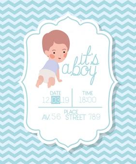Es una tarjeta de baby shower para niños pequeños.