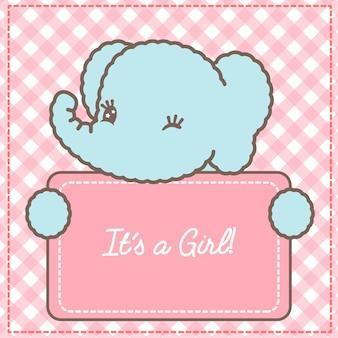 Es una tarjeta de elefante bebé niña para baby shower
