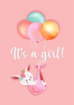 Es una tarjeta de felicitación de baby shower de niña