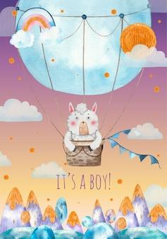 Es una tarjeta de felicitación para baby shower de niño, lindo lama acostado en un globo aerostático azul sobre las montañas