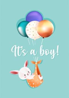 Es una tarjeta de felicitación de baby shower de niño